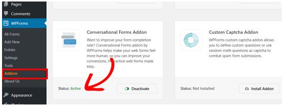 WPForms conversational form addon active
