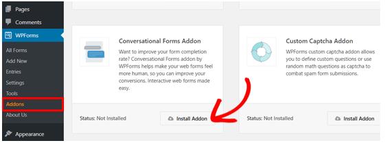 Click install addon