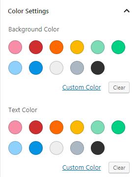 Color palette in WordPress