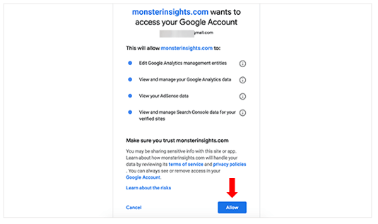Allow mpnsterinsights to access your google analytics account