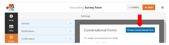 conversational form preview option