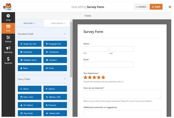 Editing a survey form with WPForms