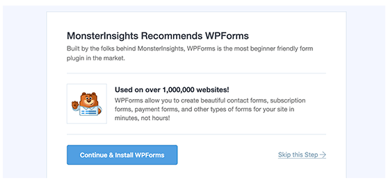 MonsterInsights recommends Wpforms