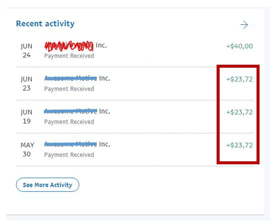ShareASale bonuses received on PayPal