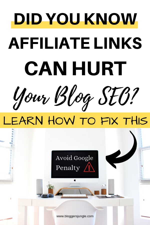 Affiliate links can hurt your blog SEO learn how to fix this