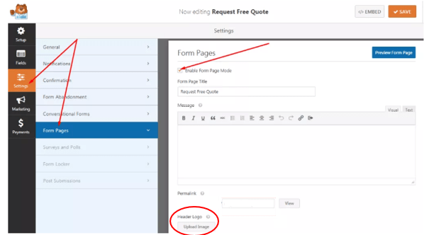 Create a page for your form
