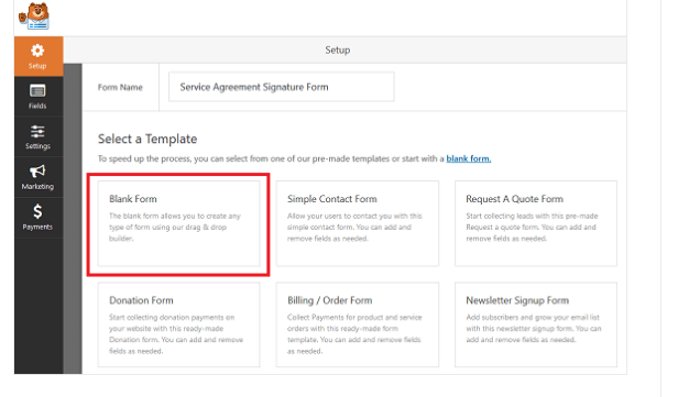 select a blank form to create a signature form