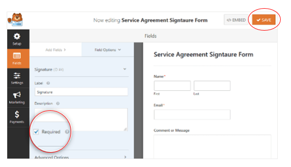 Add required field to your signature form field