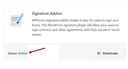 activate wpforms signature addon