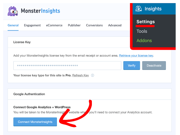Connect MonsterInsights with Google Analytics