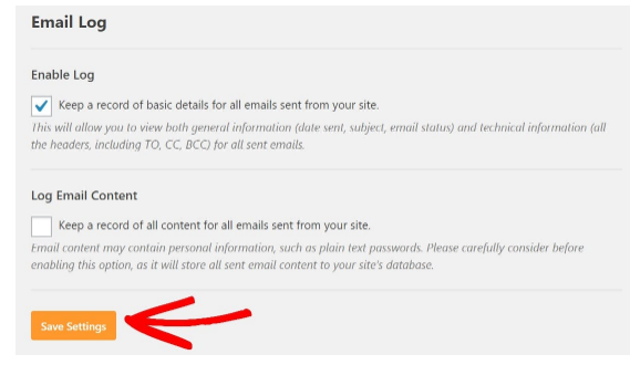 Enable email logs