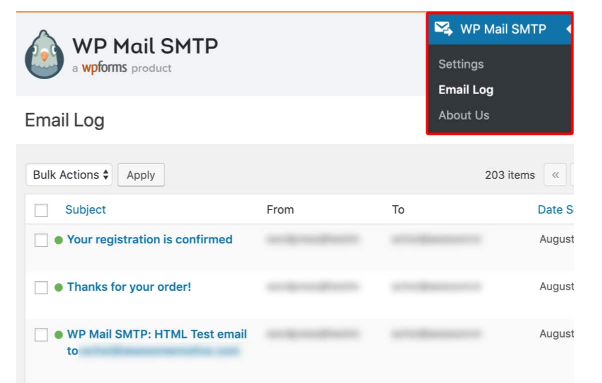 View your WordPress email logs