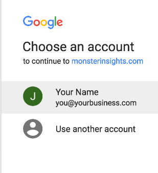 Choose your Google account