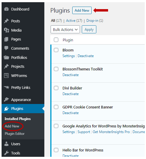 On your WordPress dashboard click plugins then click add new
