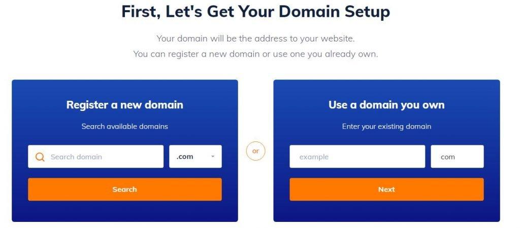 choose domain name at Name Hero